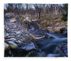 Frozen River And Winter In Forest Fleece Blanket