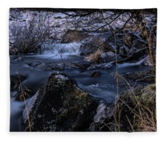Frozen River And Winter In Forest. Long Exposure With Nd Filter Fleece Blanket