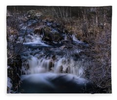 Frozen River In Forest - Long Exposure With Nd Filter Fleece Blanket