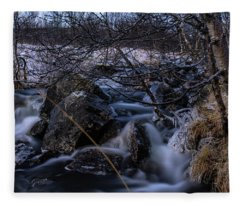 Frozen Stream In Winter Forest Fleece Blanket