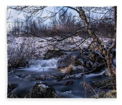 Frozen Tree In Winter River Fleece Blanket
