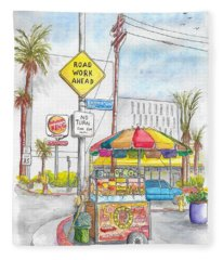 Fruit Cart In Sunset Blvd. And Kenmore Ave., In Hollywood, California Fleece Blanket