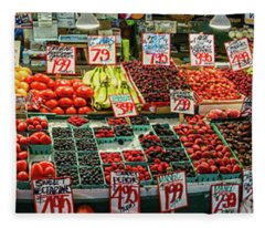 Fruits And Vegetables For Sale At Pike Fleece Blanket