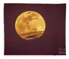 Full Moon Above Clouds Fleece Blanket