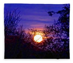 Fleece Blanket featuring the photograph Full Moonrise In Gemini by Judy Kennedy