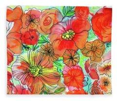 Funky Flowers Orange Fleece Blanket