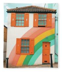 Funky Rainbow House Fleece Blanket