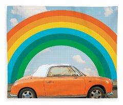 Funky Rainbow Ride Fleece Blanket