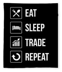 Funny Eat Sleep Trade Repeat Investors Fleece Blanket