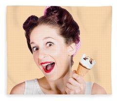 Funny Pinup Girl With Ice Cream In Isolated Studio Fleece Blanket