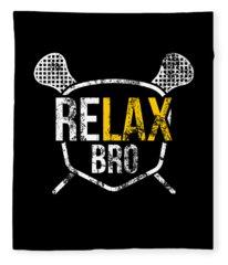 Funny Relax Bro Lacrosse Saying Vintage Distressed Fleece Blanket