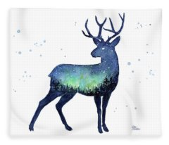 Galaxy Reindeer Silhouette Fleece Blanket