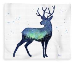 Galaxy Reindeer Silhouette Fleece Blanket