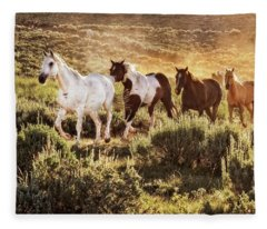 Galloping Down The Mountain Fleece Blanket