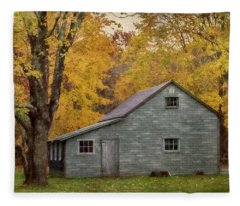 Garage In Autumn Fleece Blanket