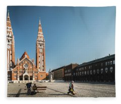Garbage Cleaners On Dom Square In Szeged  Fleece Blanket