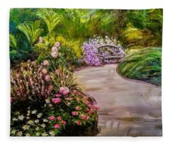 Path To The Garden Bench At Evergreen Arboretum Fleece Blanket