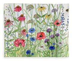 Garden Flower Medley Watercolor Fleece Blanket