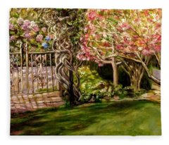 Garden Gate At Evergreen Arboretum Fleece Blanket