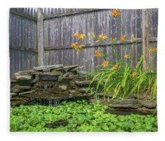 Garden Pond With Orange Day Lilies Fleece Blanket