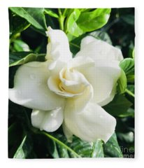 Gardenia Closeup Square Fleece Blanket