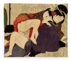 Having Sex Paintings Fleece Blankets
