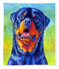 Gentle Guardian Colorful Rottweiler Dog Fleece Blanket