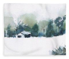 Georgia Barn Watercolor Fleece Blanket