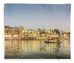 Ghat Varanasi India Fleece Blanket