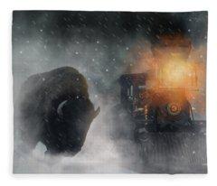 Giant Buffalo Attacking Train Fleece Blanket