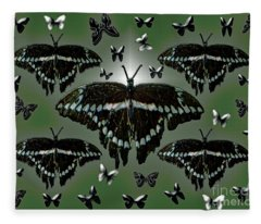 Giant Swallowtail Butterflies Fleece Blanket