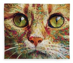 Ginger Cat Art Fleece Blanket