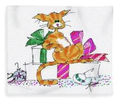 Ginger Cat's Christmas Fleece Blanket