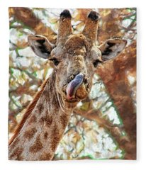 Giraffe Says Yum Fleece Blanket