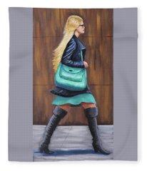 Girl Walking Fleece Blanket