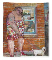 Girl With Little Dog Fleece Blanket