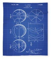 Gl Pierce Basketball Patent 1929 In Blue Print Fleece Blanket