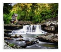 Glade Creek Grist Mill Waterfall Fleece Blanket