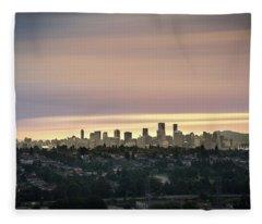 Golden Sky On Vancouver Fleece Blanket