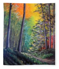 Glowing Forrest Fleece Blanket