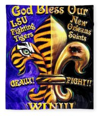 God Bless Our Tigers And Saints Fleece Blanket