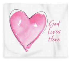 God Lives Here Fleece Blanket