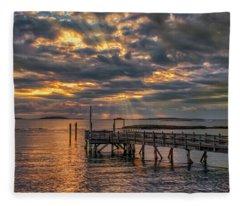 Godrays Over The Pier Fleece Blanket