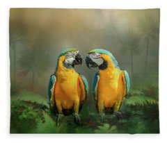 Gold And Blue Macaw Pair Fleece Blanket