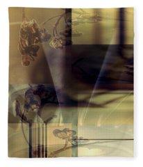 Gold Brown Tan Abstract Fleece Blanket