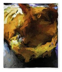 Gold Cat And The Shadow Fleece Blanket