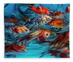 Gold Fish Abstract Fleece Blanket