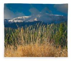 Gold Grass Snowy Peak Fleece Blanket