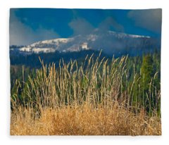 Gold Grass Snowy Peak Fleece Blanket
