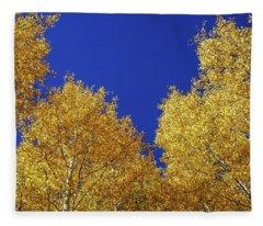 Golden Aspens And Blue Skies Fleece Blanket